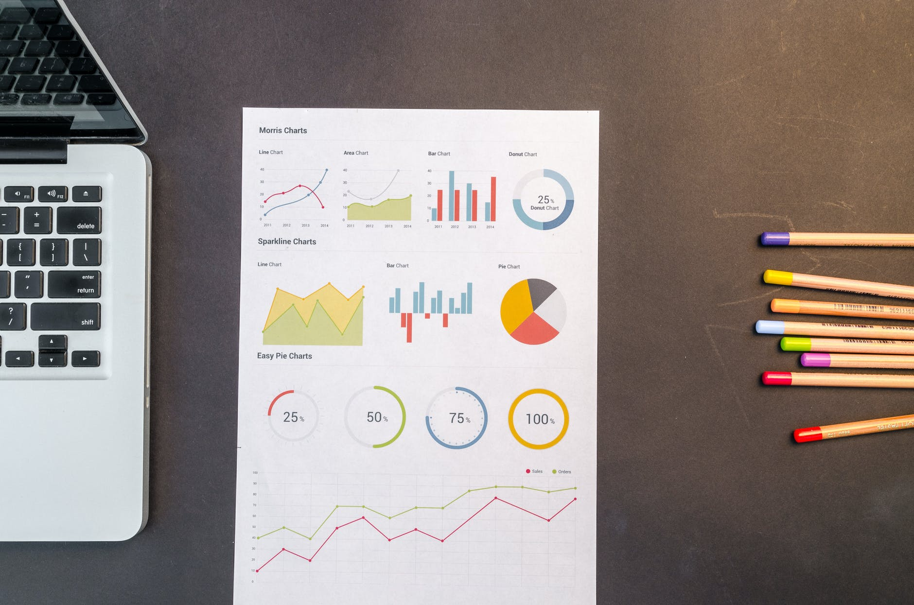 charts on black wooden table