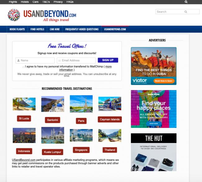 USandBeyond Home Page Image